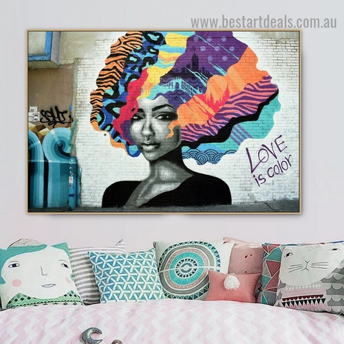 Colorful Hair Girl Abstract Typography Figure Graffiti Portrait Painting Canvas Print for Room Wall Ornament