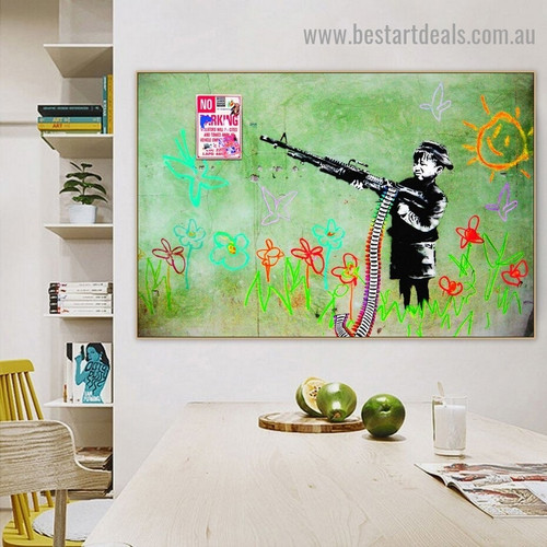 Crayon Boy Abstract Typography Kids Graffiti Portrait Photo Canvas Print for Room Wall Garniture