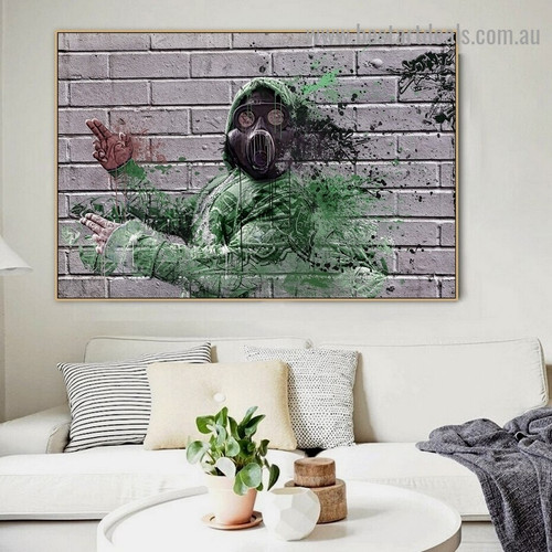 Gas Mask Man Abstract Figure Graffiti Artwork Photo Canvas Print for Room Wall Adornment