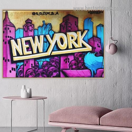 New York Graffiti Art City Typography Graffiti Portrait Image Canvas Print for Room Wall Garniture