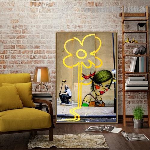 Flower Miss Van Abstract Figure Graffiti Artwork Photo Canvas Print for Room Wall Adornment