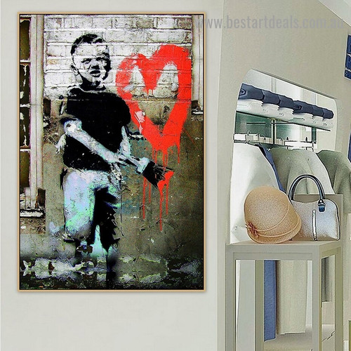 Heart Boy Abstract Figure Graffiti Artwork Picture Canvas Print for Room Wall Garnish