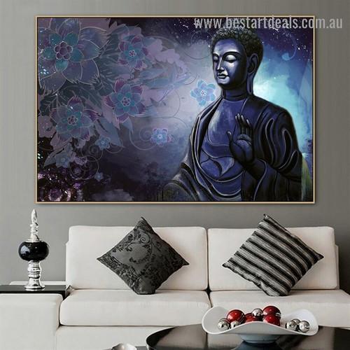 Serene Buddha Tibet Religious Modern Portrait Image Canvas Print for Room Wall Adornment