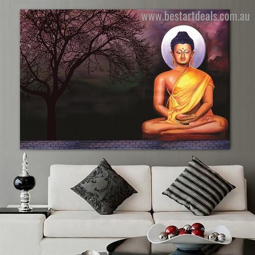 Buddha Meditating Religious Landscape Modern Artwork Photo Canvas Print for Room Wall Drape