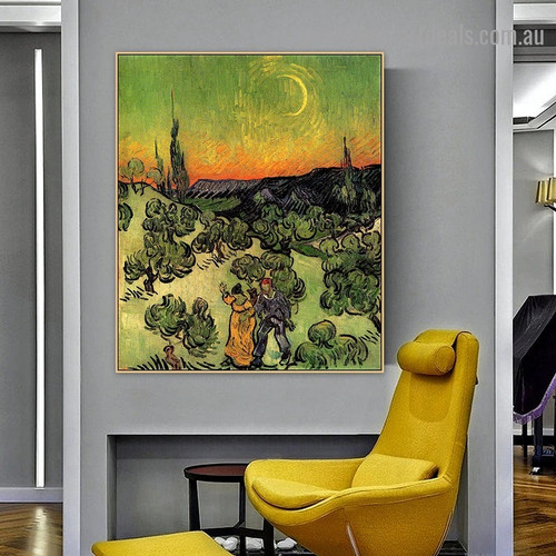 Landscape with Couple Walking and Crescent Moon Vincent Van Gogh Figure Post Impressionism Reproduction Artwork Photo Canvas Print for Room Wall Adornment