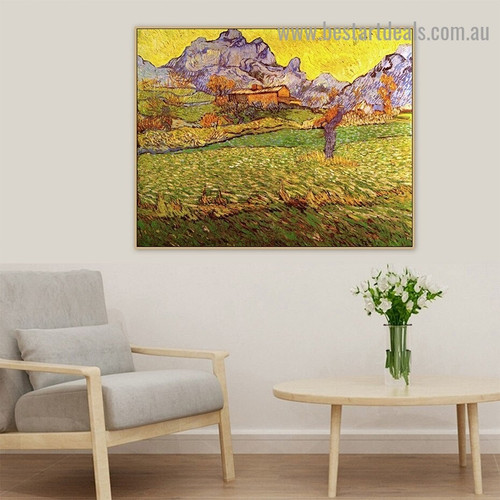 A Meadow in the Mountains Vincent Van Gogh Landscape Post impressionism Reproduction Artwork Image Canvas Print for Room Wall Decoration