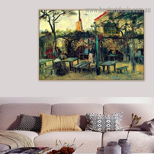 Terrace of a Cafe on Montmartre La Guinguette Vincent Van Gogh Cityscape Post Impressionism Reproduction Artwork Image Canvas Print for Room Wall Adornment