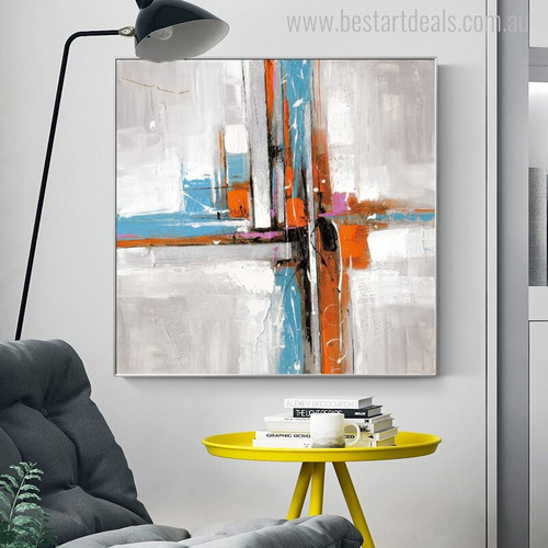 Varicolored Abstract Modern Painting Print for Room Wall Finery