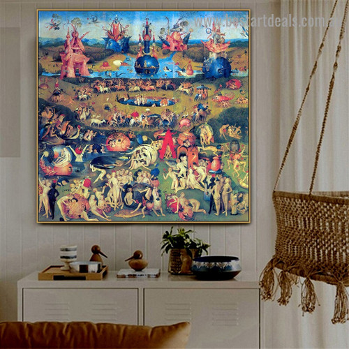 The Garden of Earthly Delights I Hieronymus Bosch Figure Landscape Northern Renaissance Reproduction Portrait Picture Canvas Print for Room Wall Ornament
