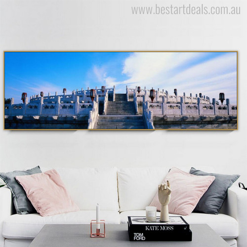 Temple of Heaven Religion and Spirituality Contemporary Panoramic Canvas Artwork Picture Print for Living Room Wall Outfit