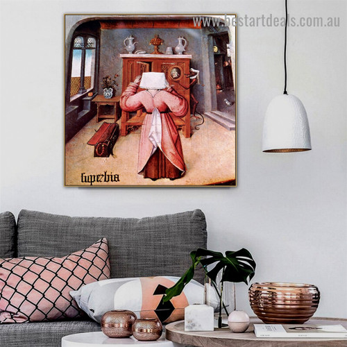 The Seven Deadly Sins and the Four Last Things Hieronymus Bosch Figure Northern Renaissance Reproduction Portrait Picture Canvas Print for Room Wall Décor