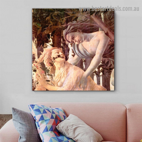 The Spring Sandro Botticelli Botanical Figure Early Renaissance Reproduction Portrait Image Canvas Print for Room Wall Garniture