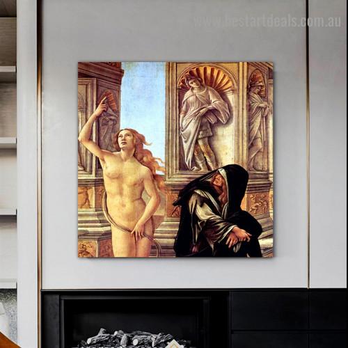 Calumny of Apelles Sandro Botticelli Figure Early Renaissance Reproduction Portrait Picture Canvas Print for Room Wall Decoration