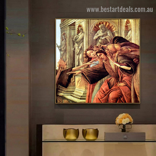 Calumny of Apelles I Sandro Botticelli Figure Early Renaissance Reproduction Artwork Picture Canvas Print for Room Wall Decoration