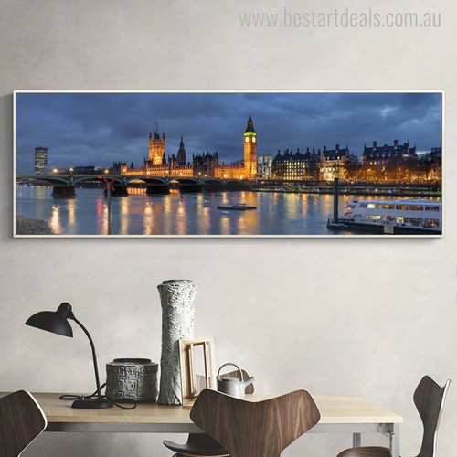 Houses of Parliament Modern Cityscape Painting Portrait Print for Room Wall Getup