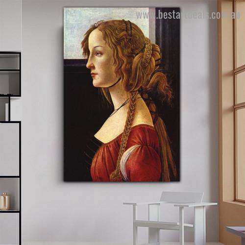 Portrait of Simonetta Vespucci Sandro Botticelli Figure Early Renaissance Reproduction Portrait Photo Canvas Print for Room Wall Ornament