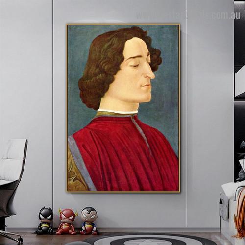 Giuliano De Medici Sandro Botticelli Figure Early Renaissance Reproduction Artwork Photo Canvas Print for Room Wall Adornment