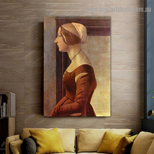 Portrait of a Young Woman Sandro Botticelli Figure Early Renaissance Reproduction Artwork Photo Canvas Print for Room Wall Adornment
