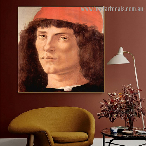 Portrait of a Young Man with Red Cap Sandro Botticelli Figure Early Renaissance Reproduction Portrait Image Canvas Print for Room Wall Garnish