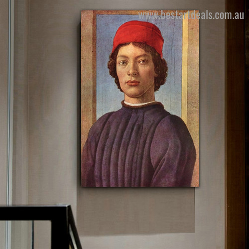 Portrait of a Young Man with Red Cap I Sandro Botticelli Figure Early Renaissance Reproduction Artwork Image Canvas Print for Room Wall Garniture