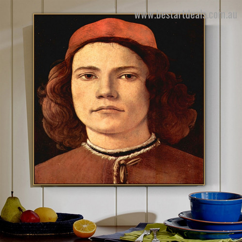 Portrait of a Young Man Sandro Botticelli Figure Early Renaissance Reproduction Portrait Picture Canvas Print for Room Wall Ornament