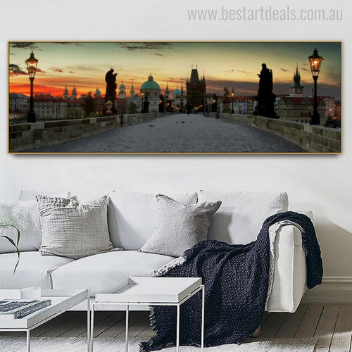 Charles Bridge Modern Cityscape Painting Portrait Print for Room Wall Decor