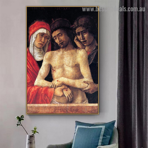 Pieta with the Virgin and St. John the Evangelist Giovanni Bellini Religious Figure High Renaissance Reproduction Artwork Picture Canvas Print for Room Wall Flourish