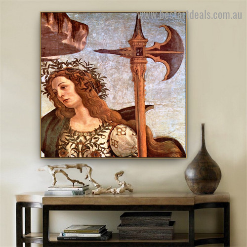 Pallas and Centaur Sandro Botticelli Mythological Figure Early Renaissance Reproduction Portrait Image Canvas Print for Room Wall Drape