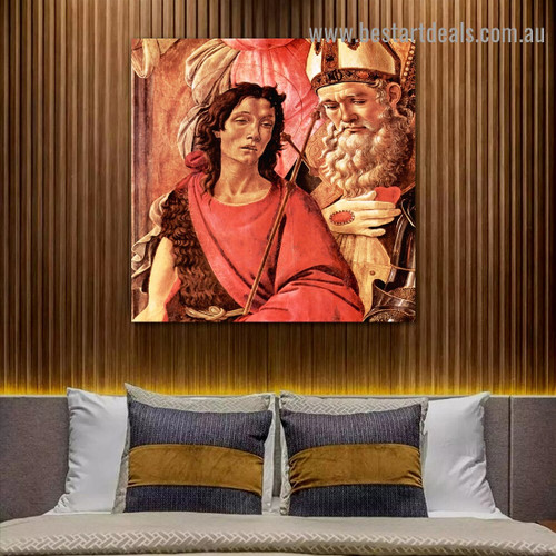 Virgin and Child with Saints from the Altarpiece of San Barnabas I Sandro Botticelli Religious Figure Early Renaissance Reproduction Artwork Portrait Canvas Print for Room Wall Adornment