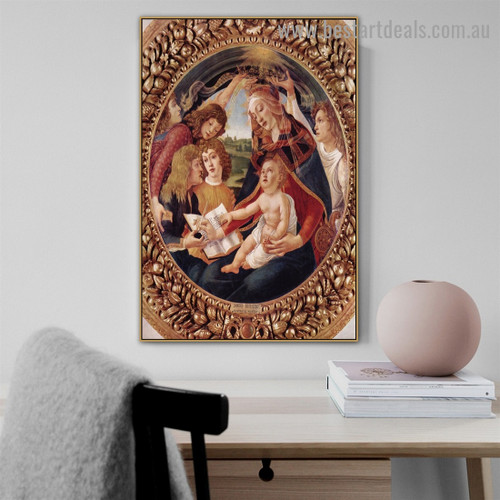 Madonna of the Magnificat Sandro Botticelli Religious Figure Early Renaissance Reproduction Portrait Photo Canvas Print for Room Wall Garniture