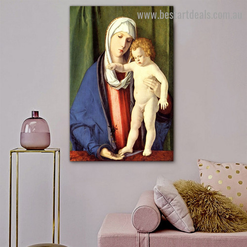 Virgin and Child Giovanni Bellini Figure High Renaissance Reproduction Artwork Picture Canvas Print for Room Wall Flourish