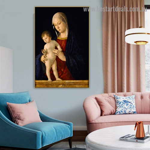 Madonna with the Child Giovanni Bellini Figure High Renaissance Reproduction Portrait Image Canvas Print for Room Wall Garniture