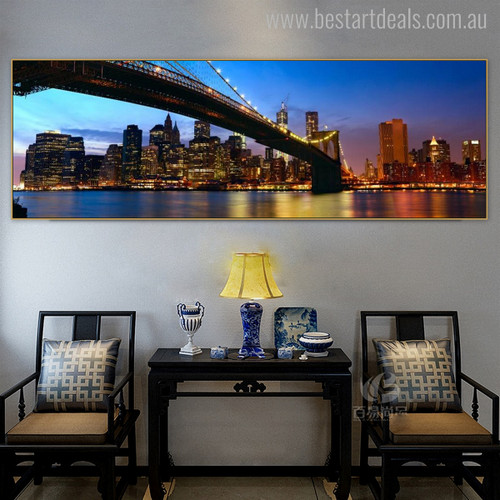Brooklyn Bridge Modern Cityscape Painting Picture Print for Room Wall Decor
