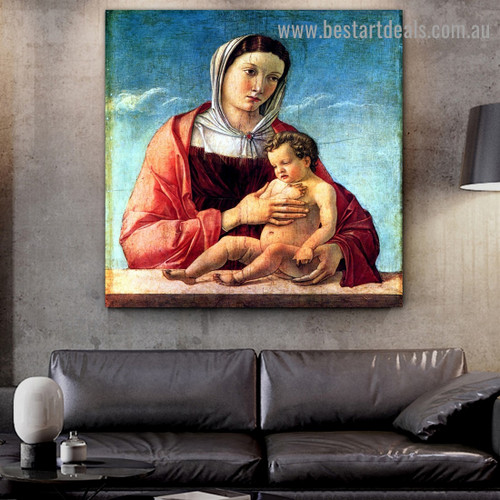 Madonna with the Child I Giovanni Bellini Figure High Renaissance Reproduction Artwork Image Canvas Print for Room Wall Garnish