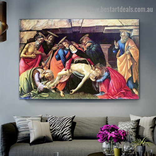 Lamentation over the Dead Christ with Saints Girolamo Pietro and Paolo Sandro Botticelli Figure Early Renaissance Reproduction Artwork Image Canvas Print for Room Wall Drape