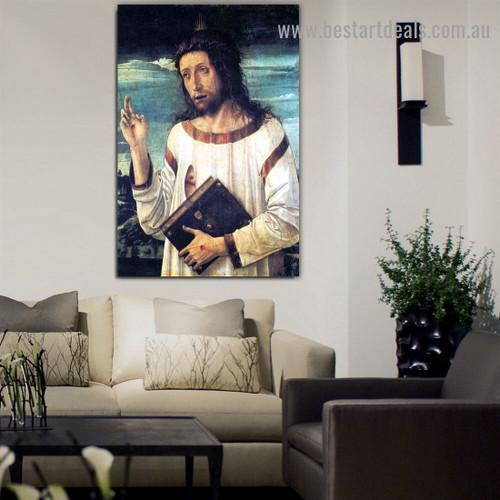 Christ Blessing Giovanni Bellini Figure Landscape High Renaissance Reproduction Artwork Image Canvas Print for Room Wall Garnish