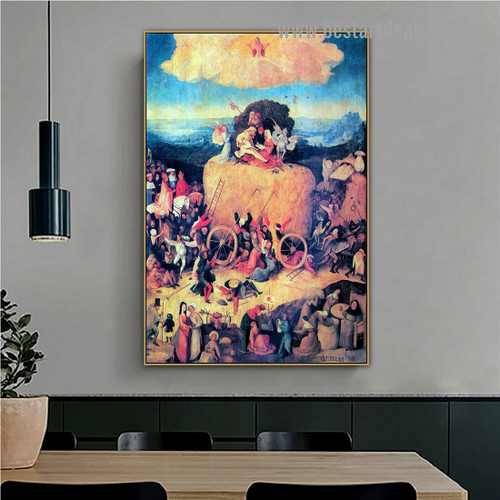 The Haywain Triptych Hieronymus Bosch Figure Landscape Northern Renaissance Reproduction Portrait Picture Canvas Print for Room Wall Adornment