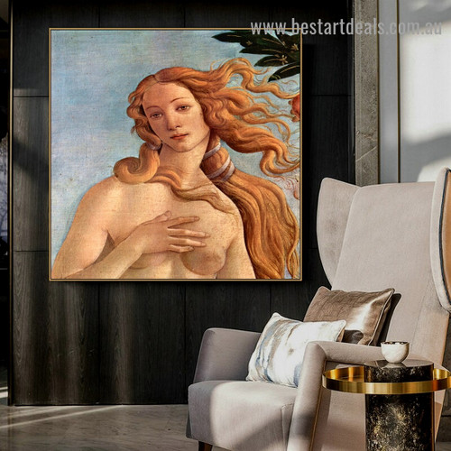 The Birth of Venus Sandro Botticelli Nude Early Renaissance Reproduction Artwork Image Canvas Print for Room Wall Decor