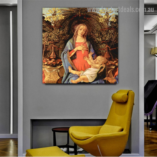 The Virgin and Child Enthroned Sandro Botticelli Botanical Figure Early Renaissance Reproduction Portrait Picture Canvas Print for Room Wall Adornment