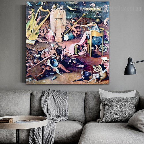 The Garden of Earthly Delights III Hieronymus Bosch Figure Landscape Northern Renaissance Reproduction Portrait Picture Canvas Print for Room Wall Décor