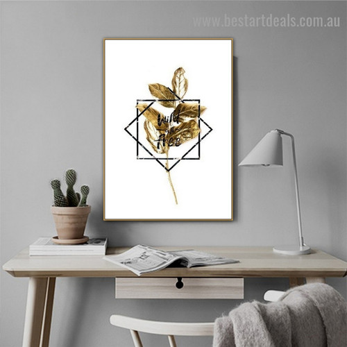 Golden Leaf Botanical Abstract Nordic Framed Portrait Picture Canvas Print for Room Wall Decoration