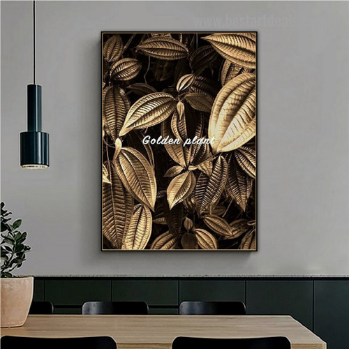 Auric Plant Leaves Botanical Nordic Framed Artwork Picture Canvas Print for Room Wall Decoration