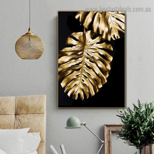 Monstera Gold Leaf Botanical Nordic Framed Portrait Image Canvas Print for Room Wall Adornment