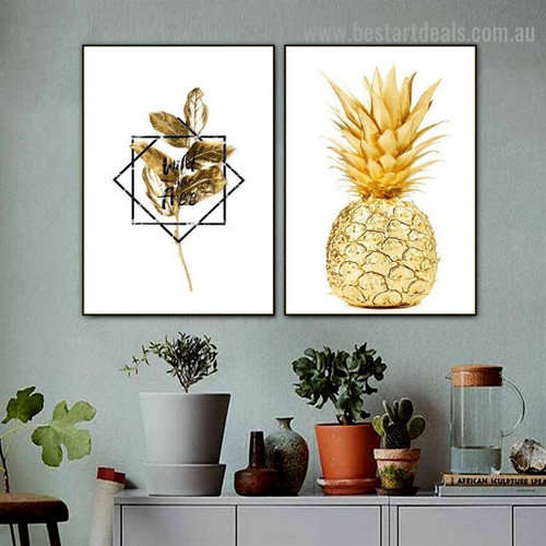 Auric Pineapple Botanical Food and Beverage Nordic Framed Artwork Photo Canvas Print for Room Wall Ornament