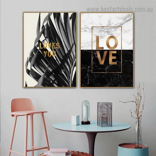 Colorless Leaflet Botanical Typography Modern Framed Artwork Photo Canvas Print for Room Wall Flourish