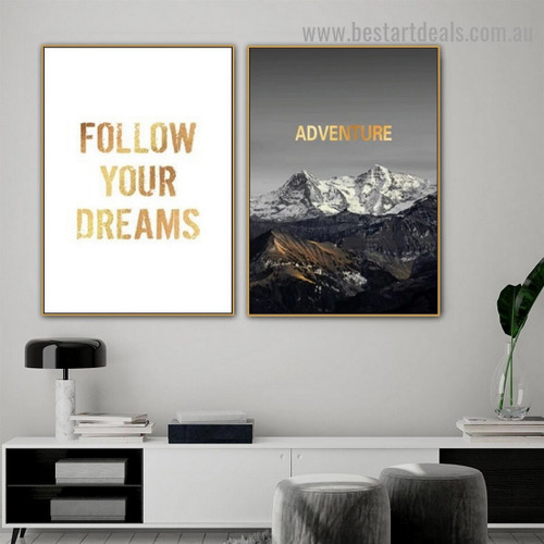 Follow Your Dreams Quote Landscape Typography Modern Framed Portrait Photo Canvas Print for Room Wall Garniture