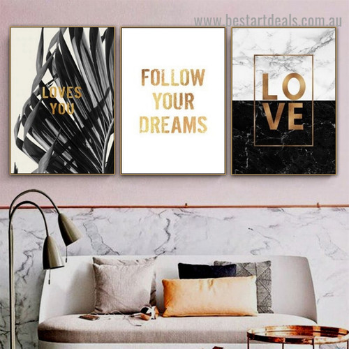 Love III Botanical Quote Typography Modern Framed Artwork Photo Canvas Print for Room Wall Ornament