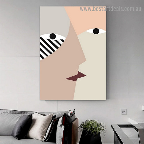 Face Kiss Abstract Scandinavian Framed Portrait Picture Canvas Print for Room Wall Adornment