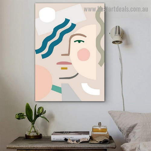 Geometric Face Abstract Scandinavian Framed Artwork Image Canvas Print for Room Wall Décor