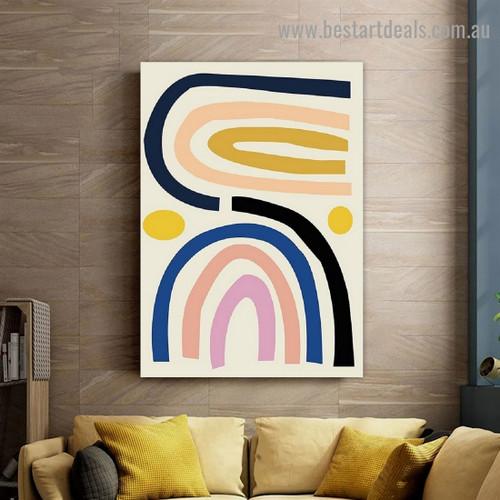 Curvy Rainbow Abstract Scandinavian Framed Portrait Image Canvas Print for Room Wall Flourish